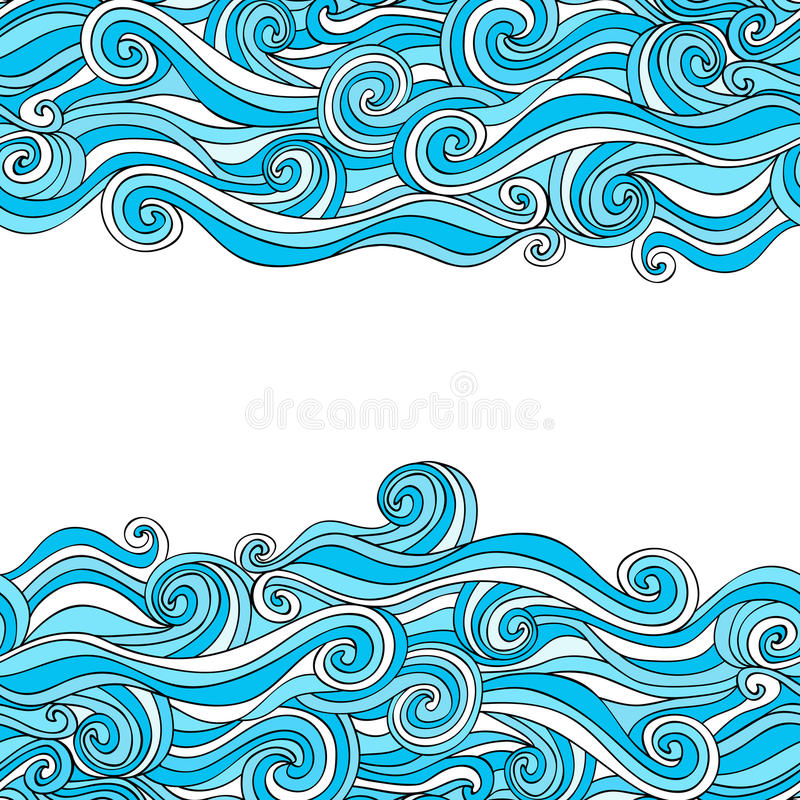 Colorful abstract hand-drawn pattern, waves background royalty free illustration