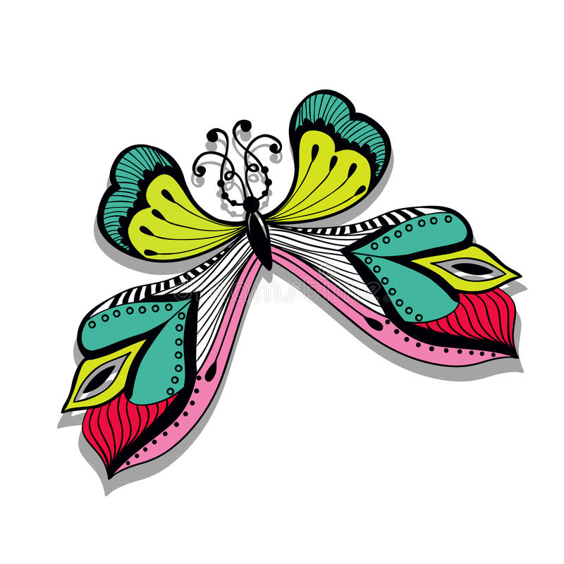 Colorful abstract illustration of butterfly. Retro butterfly design royalty free illustration
