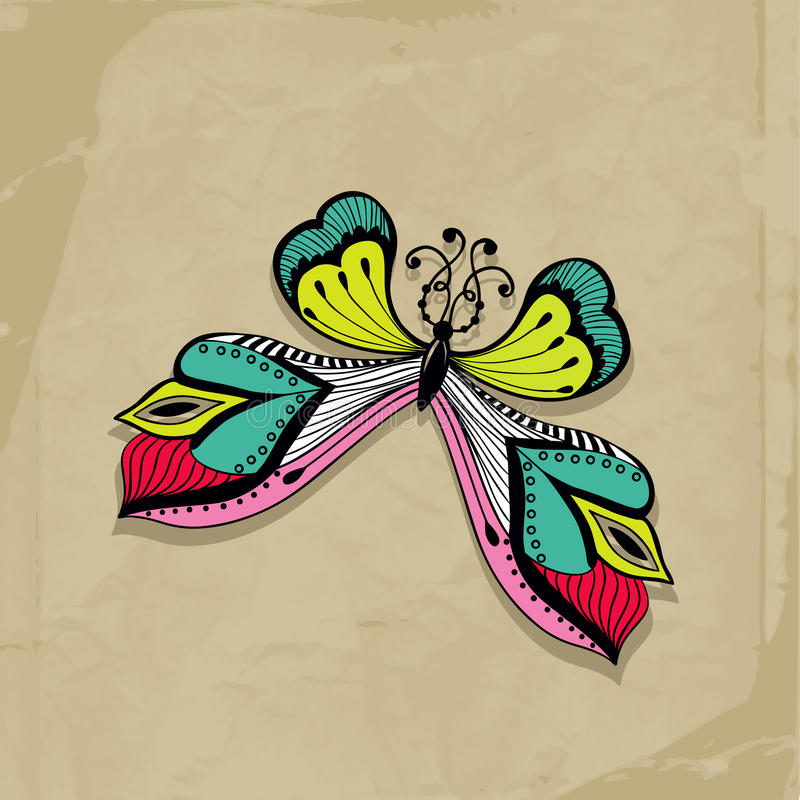 Colorful abstract illustration of butterfly. Retro butterfly design vector illustration