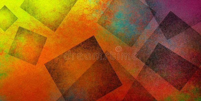 Colorful abstract modern background with texture in geometric black square shapes layered in artsy creative pattern design in brig stock illustration