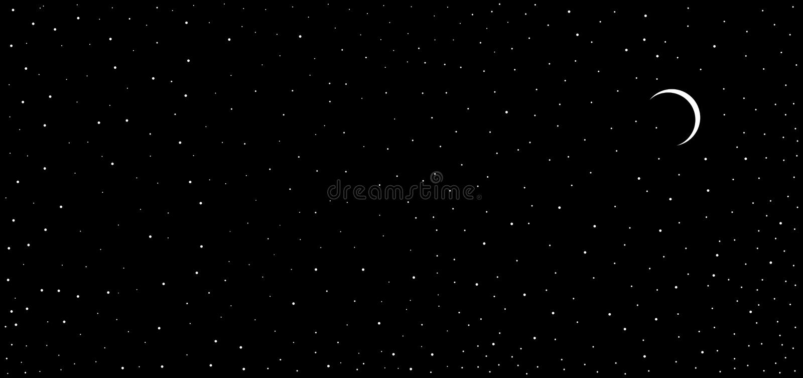 Colorful abstract night view black sky small eclipse like star shinning moon Background. Many uses for advertising, book page, paintings, printing, mobile stock illustration