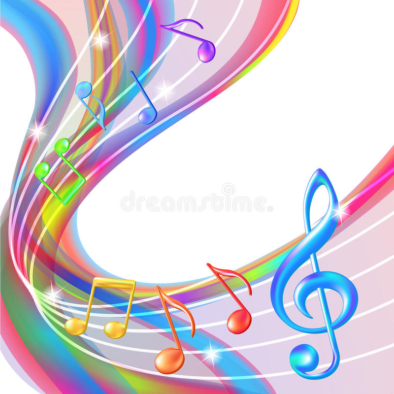 Colorful abstract notes music background. stock illustration