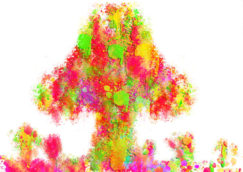 Colorful abstract paint tree royalty free illustration