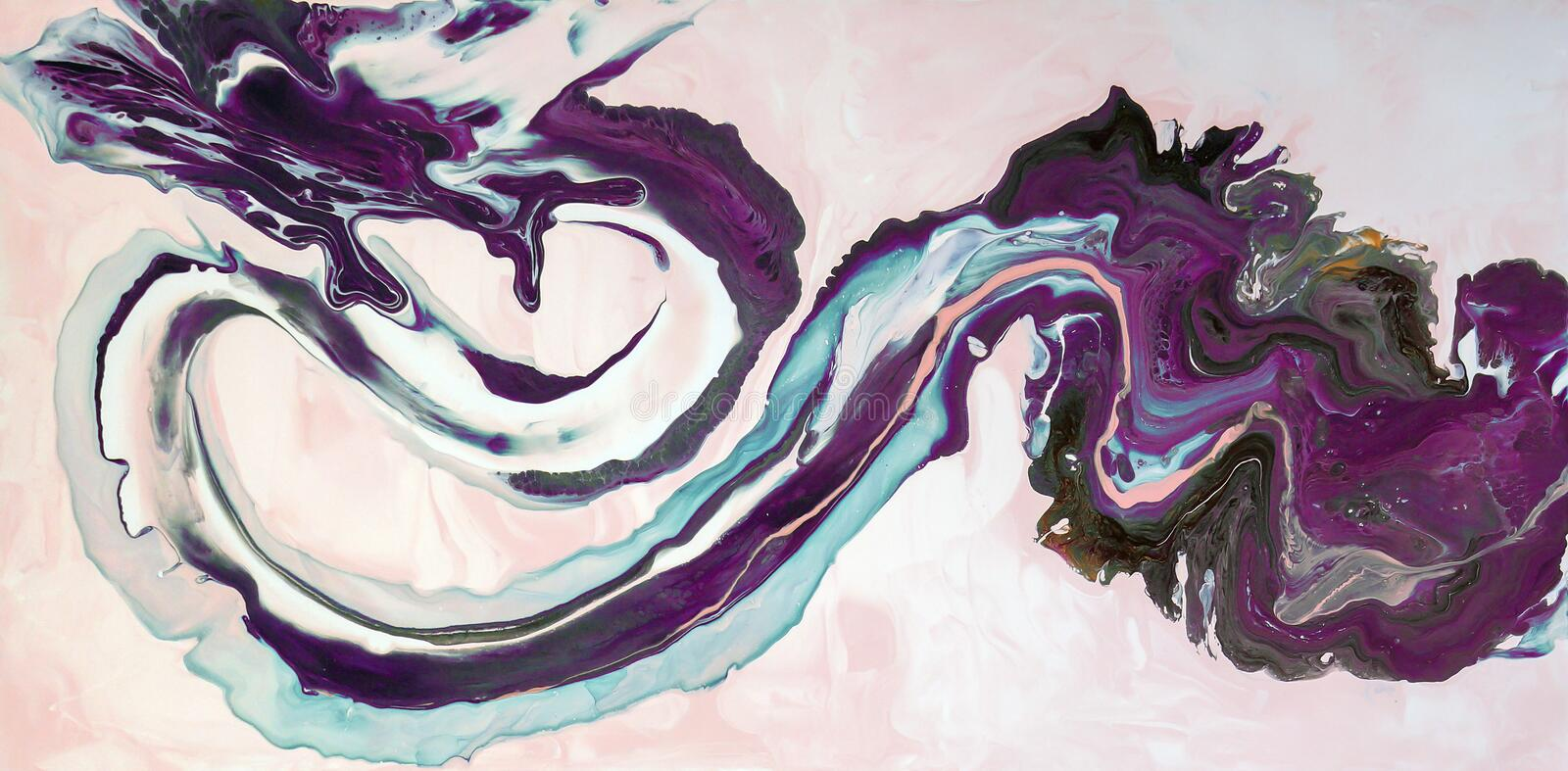 Marbling. Marble texture. Paint splash. Colorful fluid. Abstract colored background. Raster illustration. Colorful abstract painti stock illustration