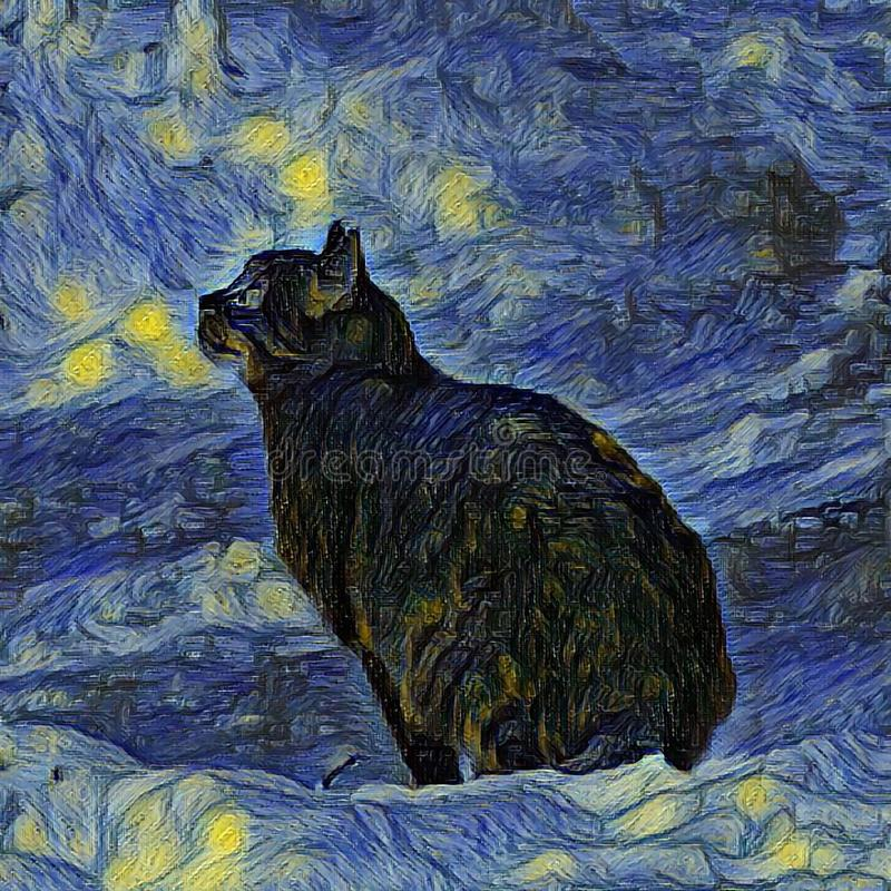Outdoor paintings. Shambhala cat in Vincent Van Gogh impressionist art style. Artificial neural network picture stock photography
