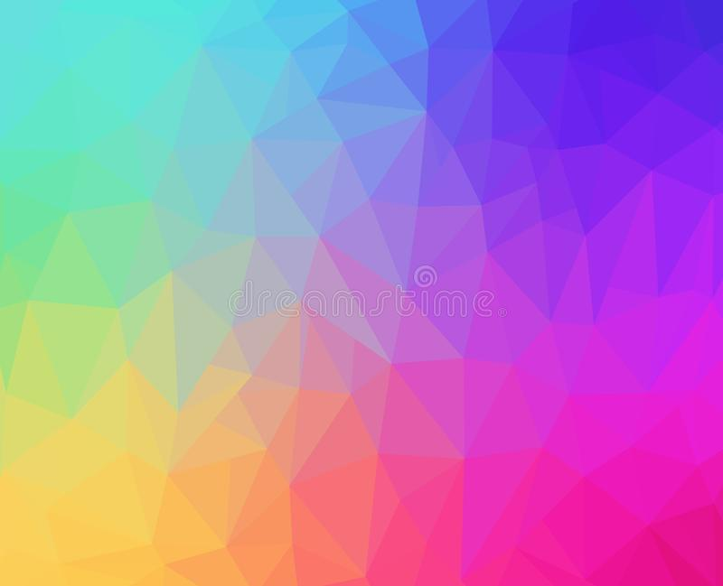 Rainbow Pastel Polygon Background stock illustration