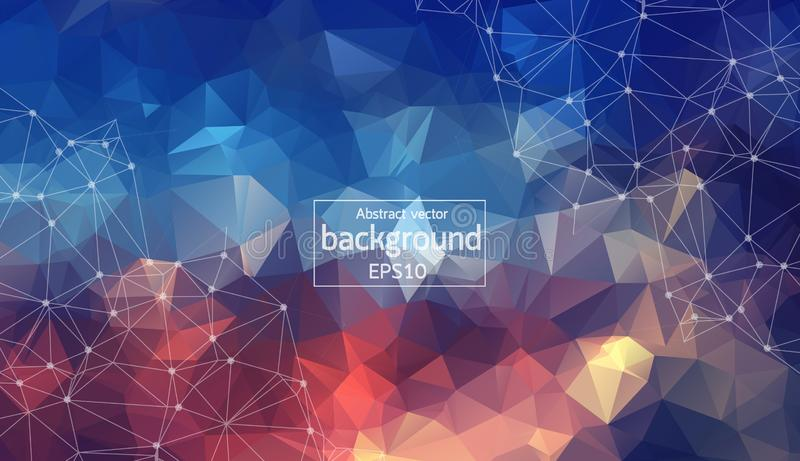 colorful Abstract polygonal space low poly background with connecting dots and lines. Connection structure. vector illustration