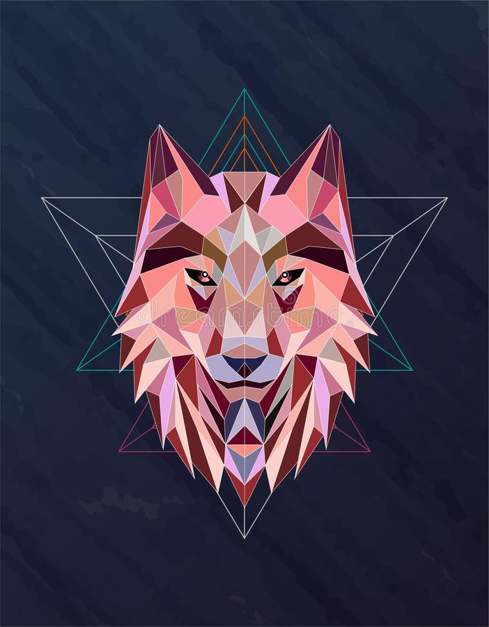 Colorful abstract polygonal wolf head stock photos