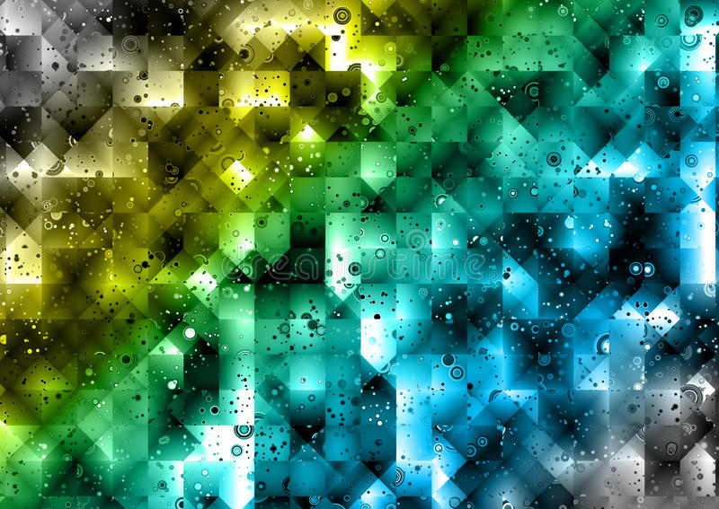 Colorful Abstract Polygons Background. Abstract geometric background of squares and triangles in yellow, green and blue vector illustration