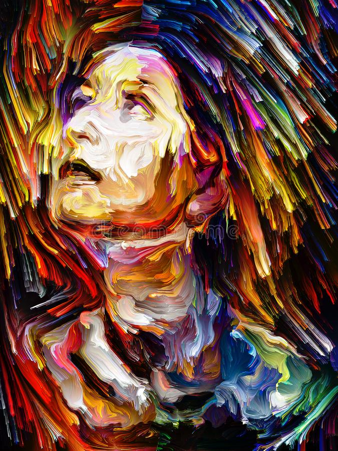 Colorful Abstract Portrait Painting stock illustration