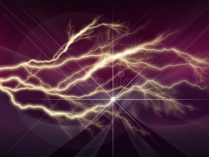 Colorful abstract psychedelic lightning with deep purple sky vector illustration