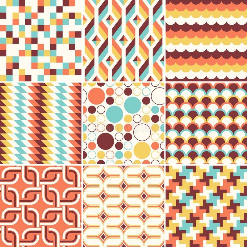 Colorful abstract retro stylish seamless geometric cushion pattern royalty free illustration