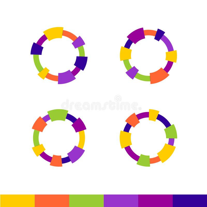 Colorful abstract round frames set. Technical or cartoon outline borders. stock illustration