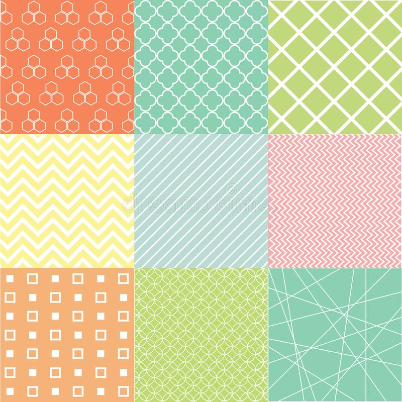 Colorful abstract seamless pattern set vector illustration
