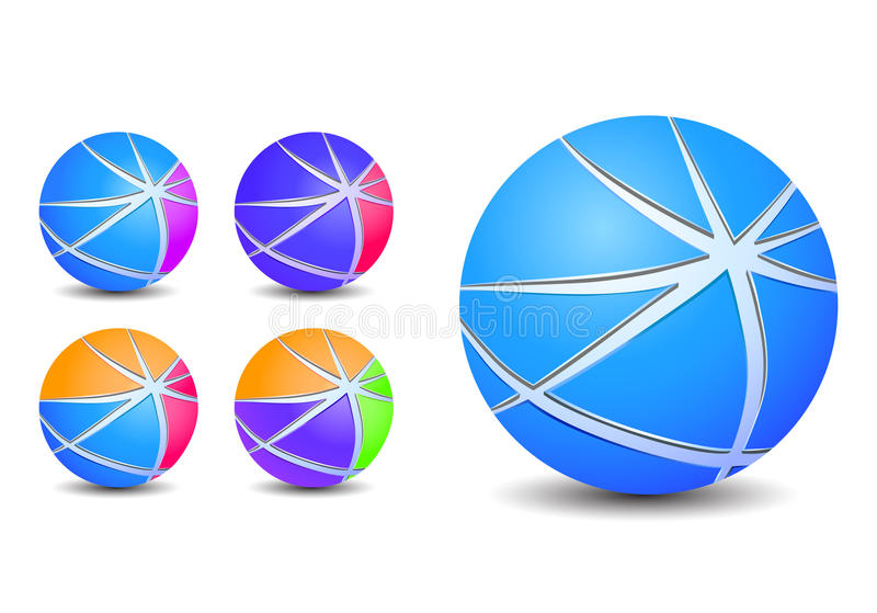 Download Colorful Abstract Striped Sphere Balls Icons Royalty Free Stock Images - Image: 17782879