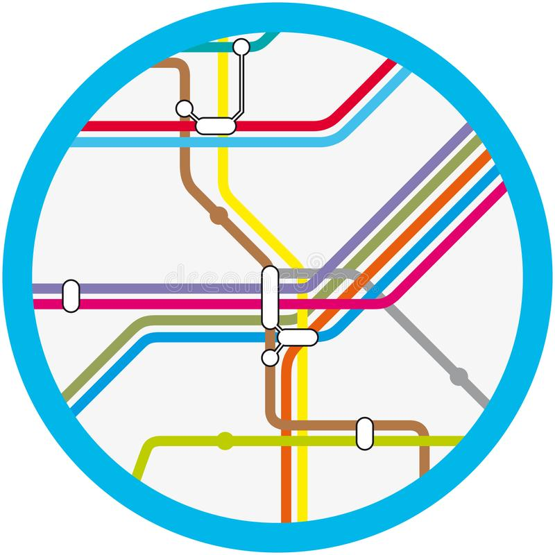 A colorful abstract subway, metro vector map vector illustration