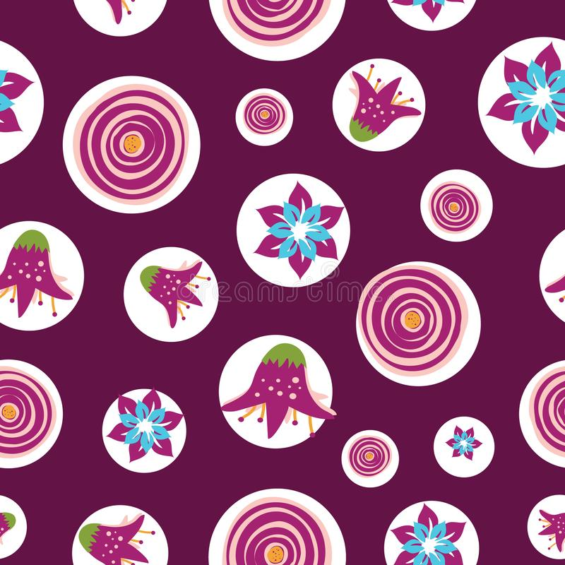 Colorful abstract summer flowers on a dark raspberry pink background. Perfect for scrap booking , textile and home decor projects vector illustration