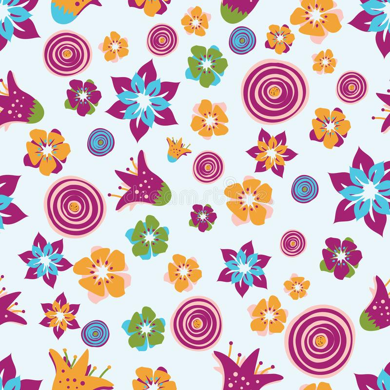 Colorful abstract summer flowers on a light blue background. Perfect for scrap booking , textile and home decor projects stock illustration