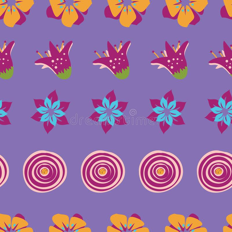 Colorful abstract summer flowers on a purple background. Perfect for scrap booking , textile and home decor projects stock illustration