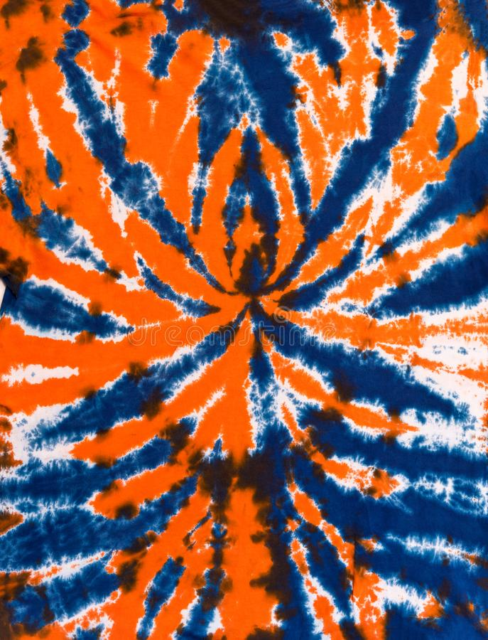 Colorful Abstract Tie Dye Pattern Design Blue and Orange. Abstract Spider Tie Dye Design for Background or Wallpaper in Blue and Orange colors stock photo