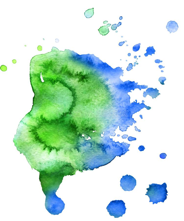 Colorful abstract watercolor texture with splashes and spatters. stock photo