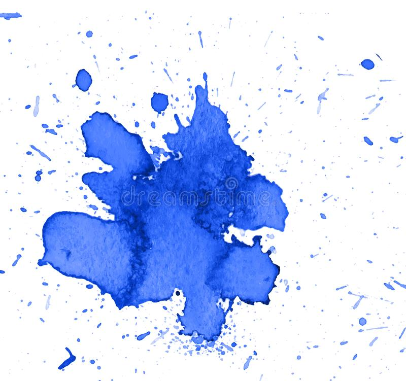 Colorful abstract watercolor texture stain with splashes and spatters. Modern creative watercolor background for trendy design stock photography