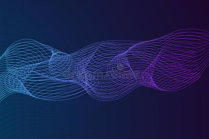 Abstract background with dynamic linear waves. Stylized lines element for design. Colorful abstract waves vector backgroud. Digital frequency track equalizer royalty free illustration