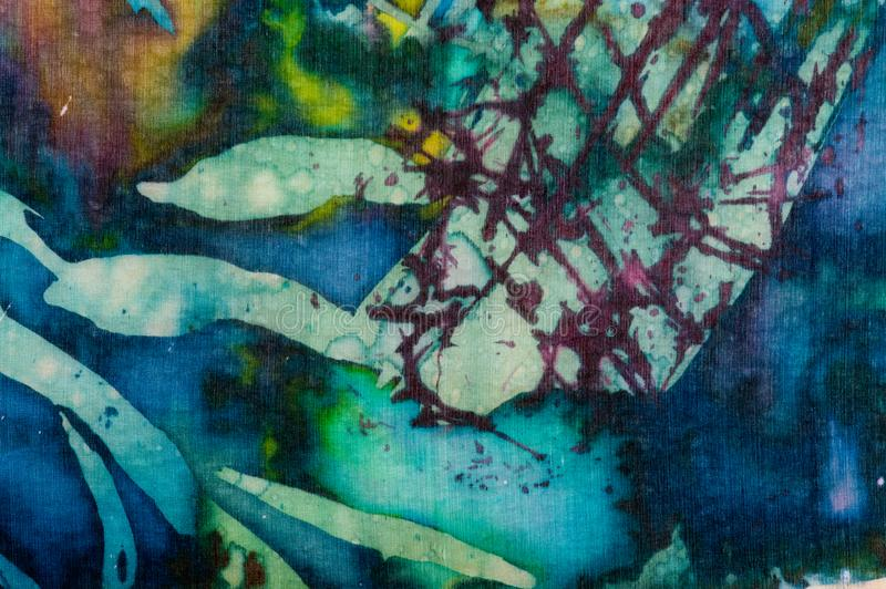 Colorful abstraction, fragment, hot batik, handmade abstract surrealism art on silk. Background texture royalty free stock photos