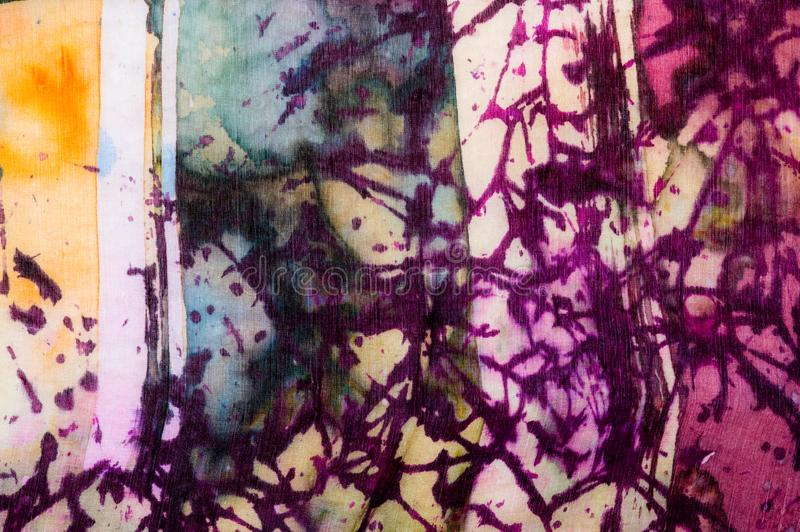 Colorful abstraction, fragment, hot batik, handmade abstract surrealism art on silk. Background texture stock images