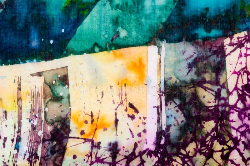 Colorful abstraction, fragment, hot batik, handmade abstract surrealism art on silk. Background texture royalty free stock photo