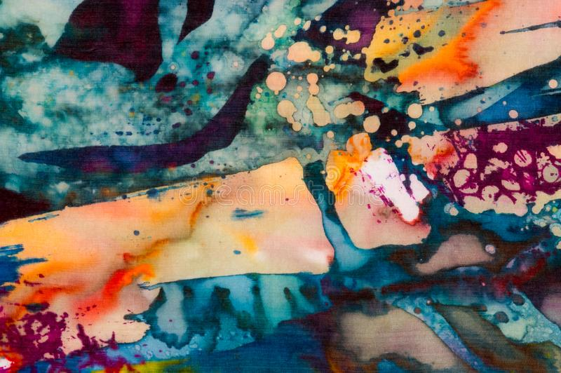 Colorful abstraction, fragment, hot batik, handmade abstract surrealism art on silk. Background texture royalty free stock images
