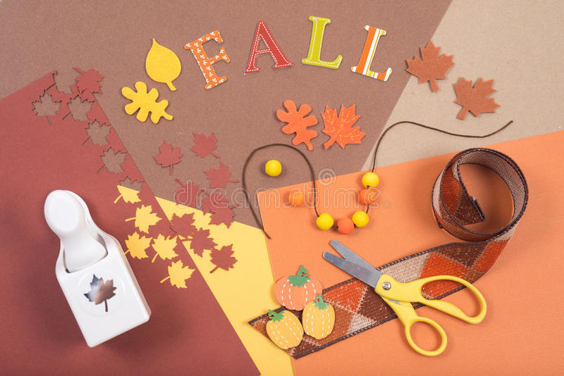 Colorful accessories for fall craft royalty free stock image