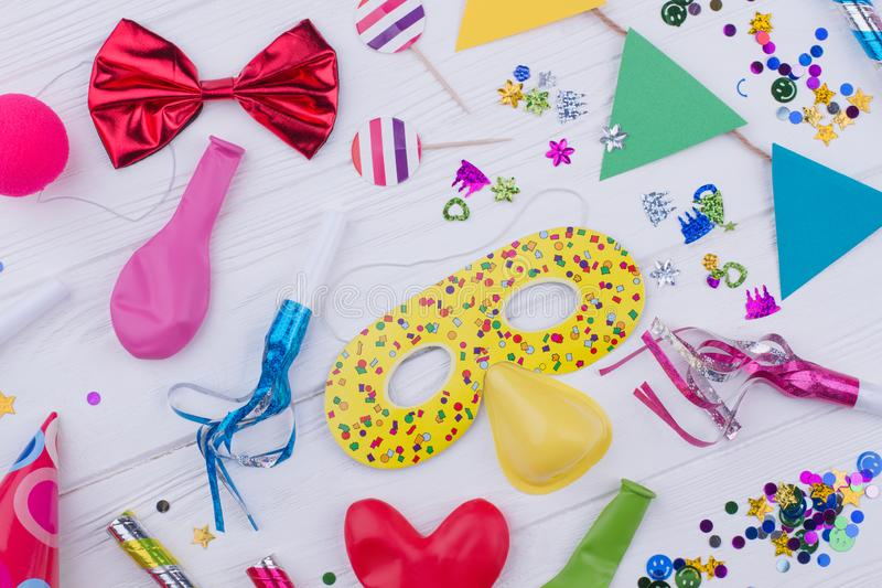 Colorful accessories for kids Birthday party. stock images