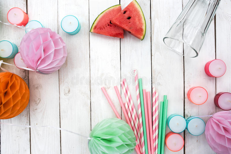 Colorful accessories for a summer party stock photography