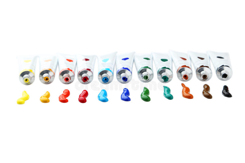 Colorful acrylic paints in tubes isolated on a white stock image