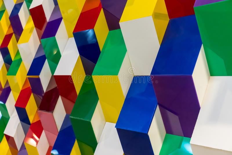 Colorful acrylic structure pattern creating abstract geometric w. All background stock image