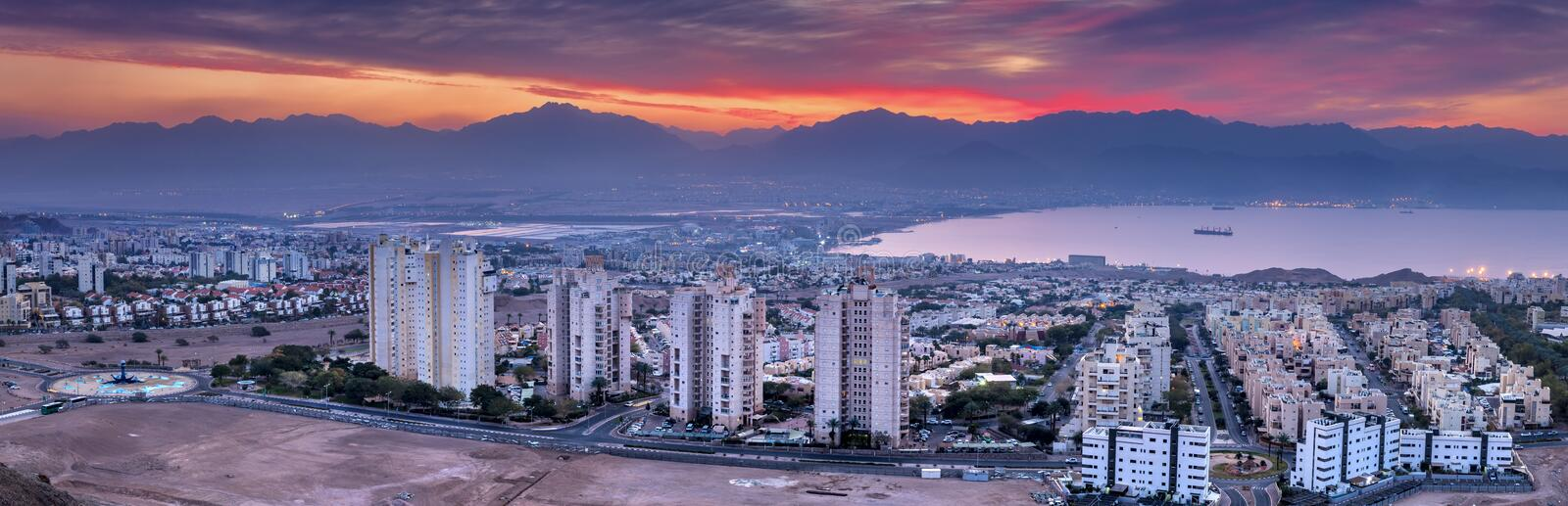Colorful aerial scenic view on Eilat Israel and Aqaba Jordan cities. Eilat is a famous resort and recreational city in Israel. Photo was taken from the hills stock photography