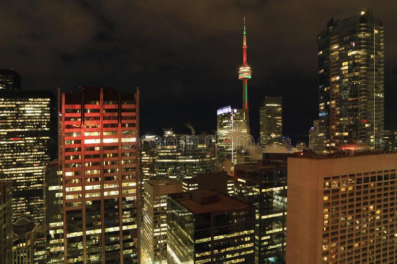 Colorful aerial of Toronto core at night. A Colorful aerial of Toronto core at night stock photography