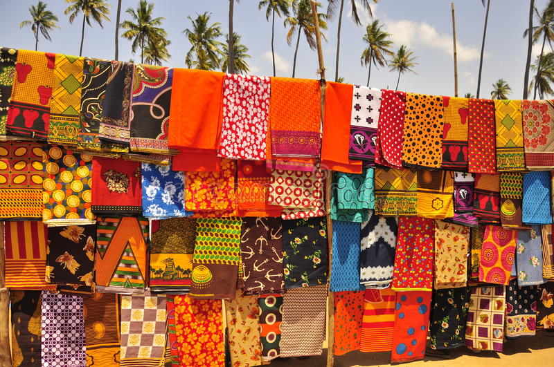 Colorful african market. Capulanas fabric in mozambique