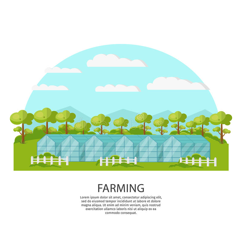 Colorful Agronomy And Agriculture Concept. With greenhouse and garden on nature landscape vector illustration royalty free illustration