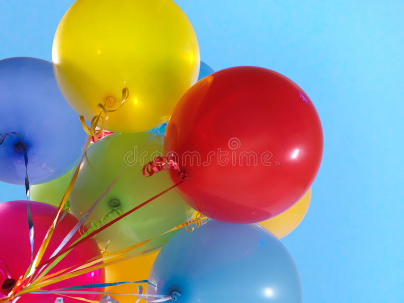 Colorful Air Balloons. Over blue sky background royalty free stock image