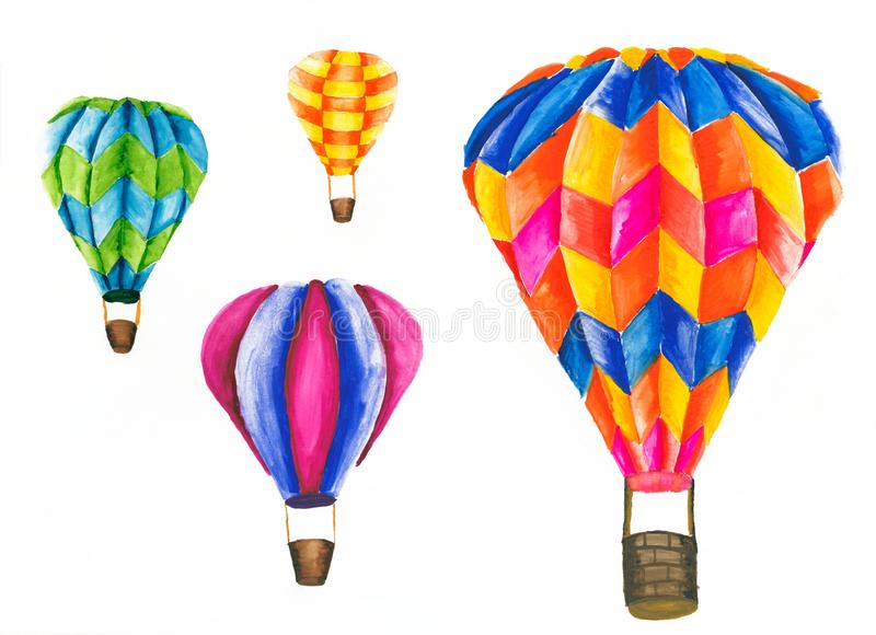 Colorful air balloons. Set of watercolor painting of colorful air balloons vector illustration