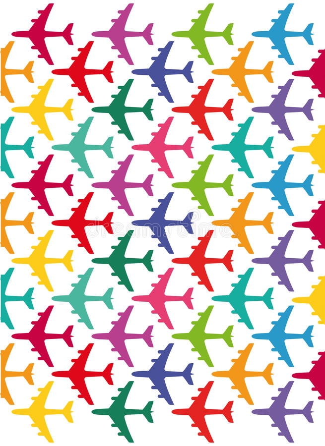 Colorful airplanes stock illustration