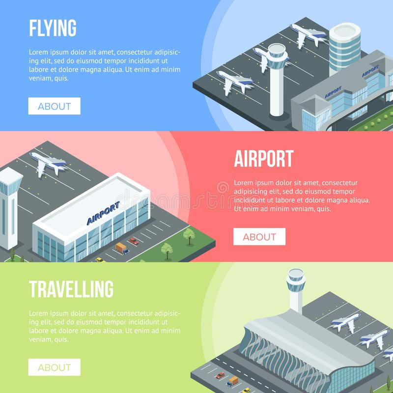 Colorful airport banners vector illustration