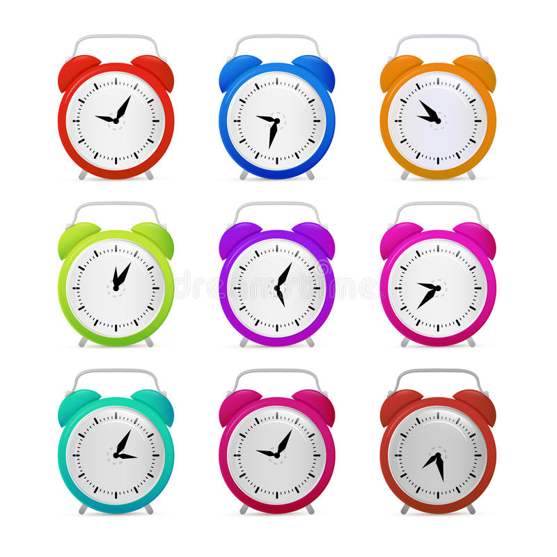 Colorful Alarm Clock Set stock illustration