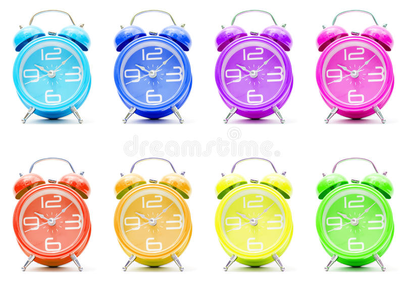Download Colorful alarm clocks stock photo. Image of orange, alert - 17473964