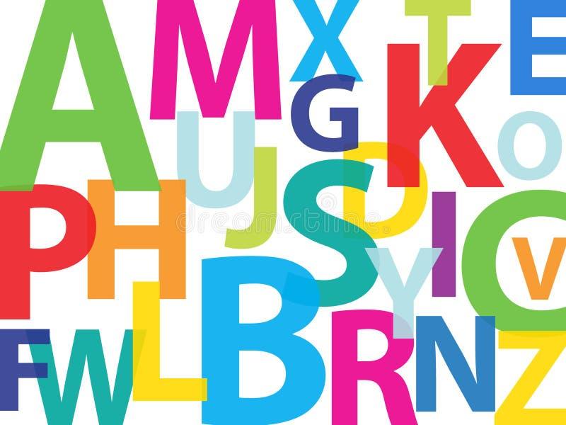 Colorful alphabet. Vector rainbow alphabet isolated over white background royalty free illustration