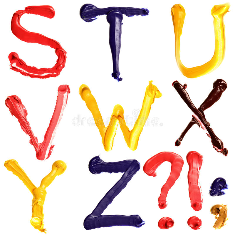Colorful alphabet. Colorful oil painted alphabet, Letters S - Z royalty free stock photos