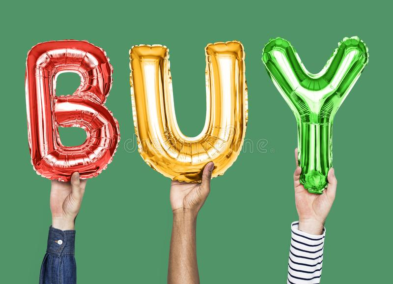 Colorful alphabet balloons forming the word buy stock image