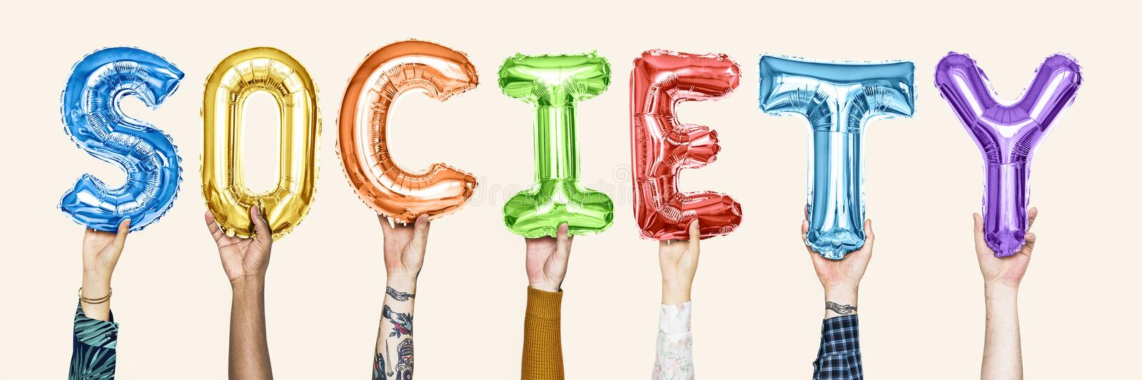 Colorful alphabet balloons forming the word society royalty free stock photos